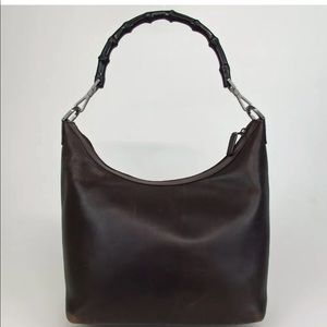 Authentic GUCCI Bamboo Shoulder Bag leather